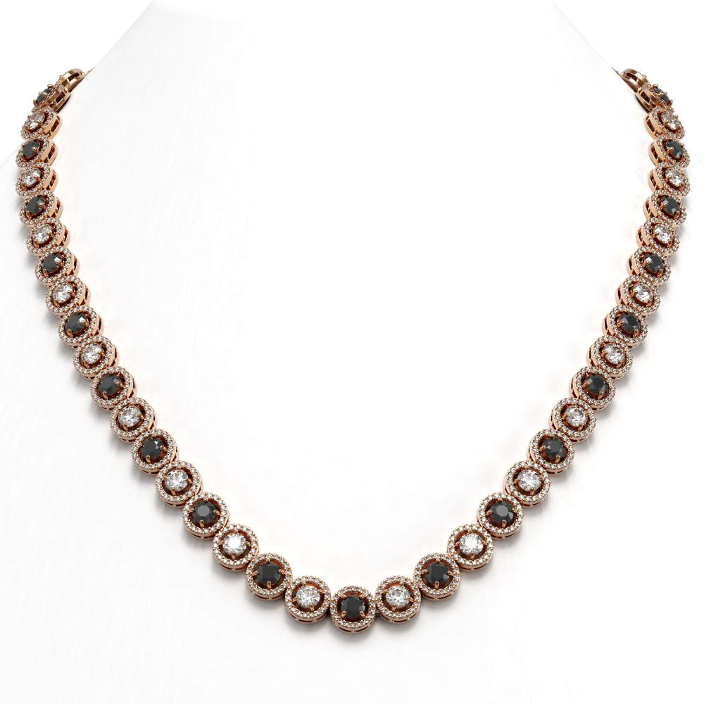 23.95 ctw Black & Diamond Necklace 18K Rose Gold - REF-1453N6A - SKU:43002