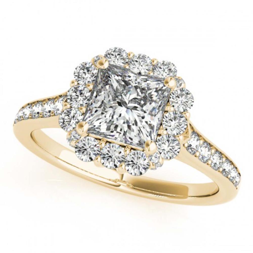 1.50 ctw VS/SI Princess Diamond Halo Ring 18K Yellow Gold - REF-331M3F - SKU:27158