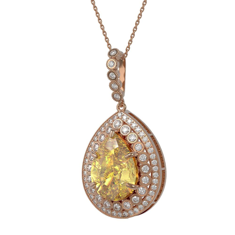 16.96 ctw Canary Citrine & Diamond Necklace 14K Rose Gold - REF-230N4A - SKU:43329