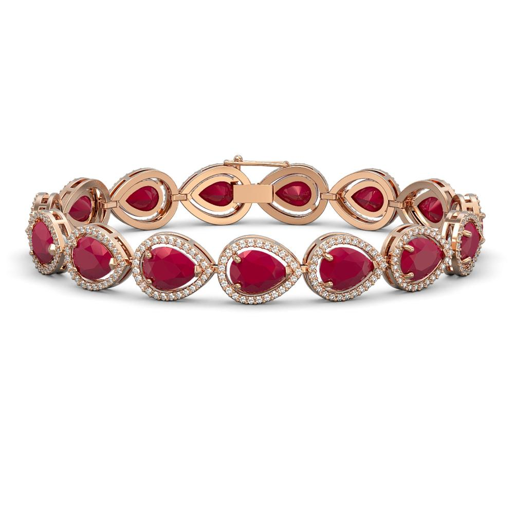 30.06 ctw Ruby & Diamond Halo Bracelet Rose 10K Rose Gold - REF-368Y5X - SKU:41238