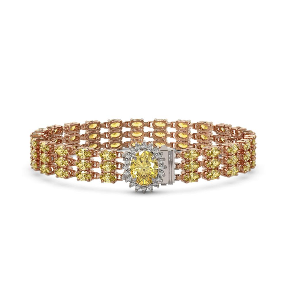 21.49 ctw Citrine & Diamond Bracelet 14K Rose Gold - REF-230M2F - SKU:45864