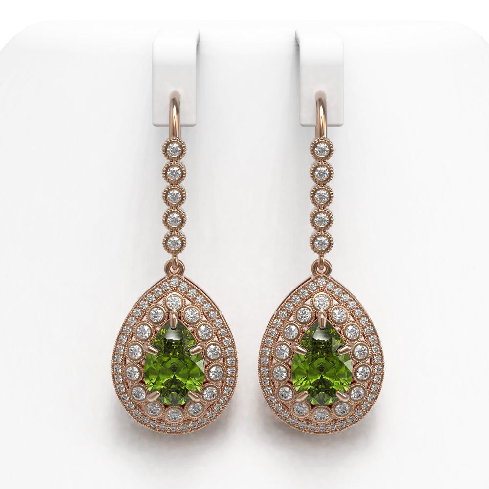 9.95 ctw Tourmaline & Diamond Earrings 14K Rose Gold - REF-318Y4X - SKU:43167