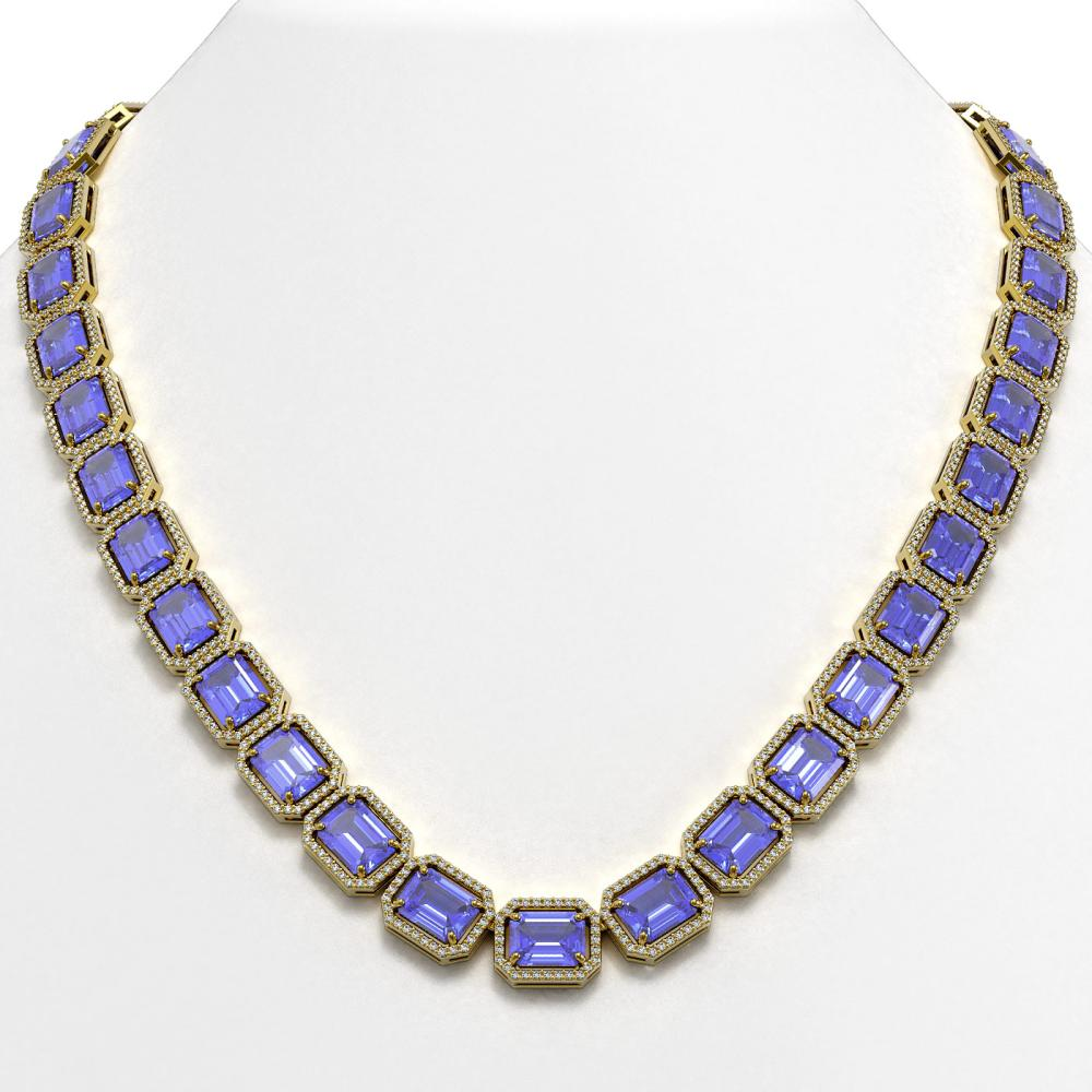 79.99 ctw Tanzanite & Diamond Halo Necklace 10K Yellow Gold - REF-1704Y2X - SKU:41485