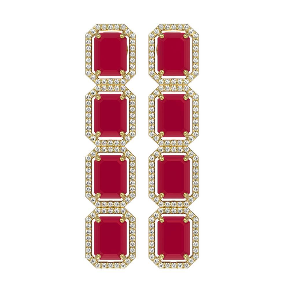 20.59 ctw Ruby & Diamond Halo Earrings 10K Yellow Gold - REF-230H9M - SKU:41575