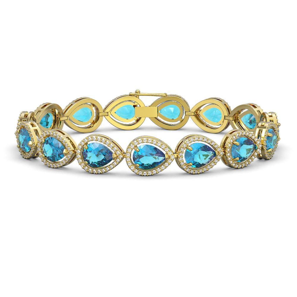 20.3 ctw Swiss Topaz & Diamond Halo Bracelet 10K Yellow Gold - REF-286M2F - SKU:41269