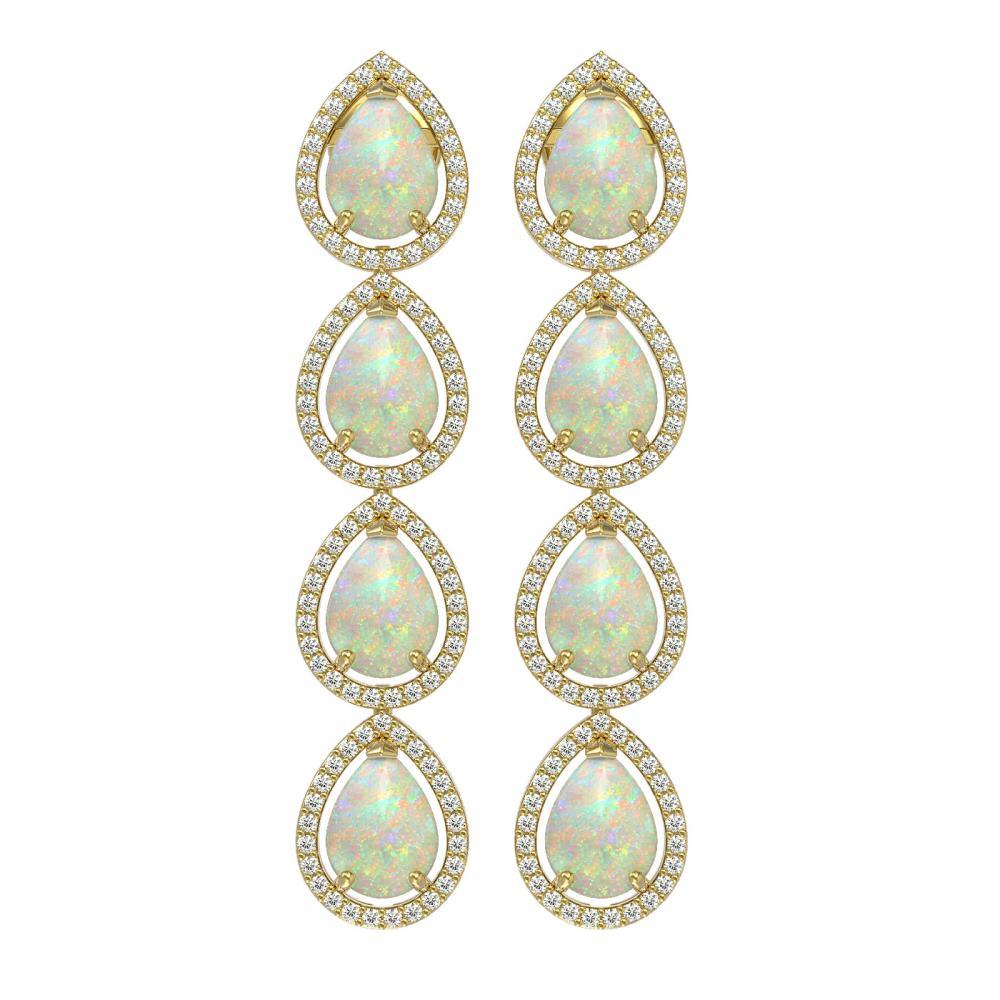 9.12 ctw Opal & Diamond Halo Earrings Yellow 10K Yellow Gold - REF-174W5H - SKU:41299