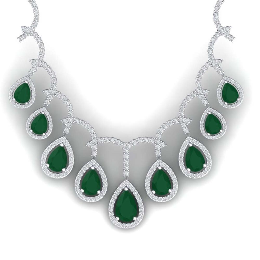 31.5 ctw Emerald & VS Diamond Necklace 18K White Gold - REF-872W7H - SKU:39345
