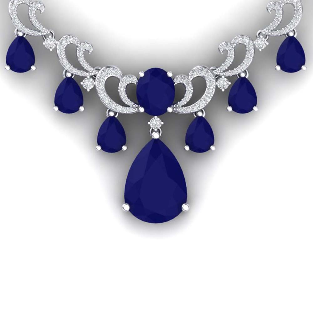 36.85 ctw Sapphire & VS Diamond Necklace 18K White Gold - REF-963Y6X - SKU:38661