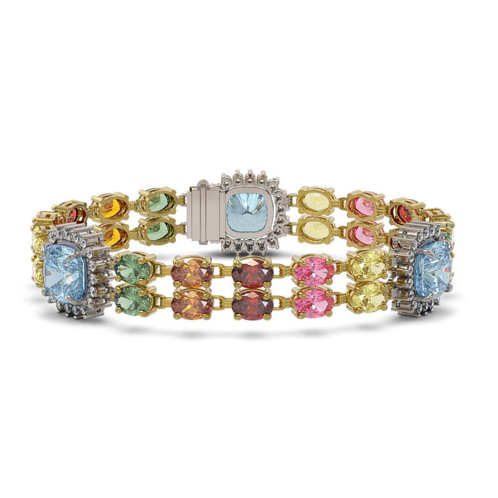 41.17 ctw Sapphire & Diamond Bracelet 14K Yellow Gold - REF-380W7H - SKU:44902