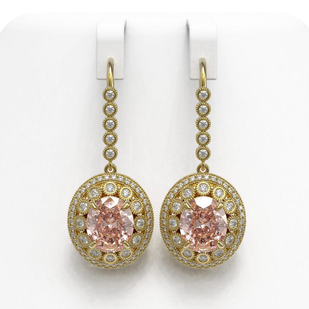 13.82 ctw Morganite & Diamond Earrings 14K Yellow Gold - REF-579A8V - SKU:43789