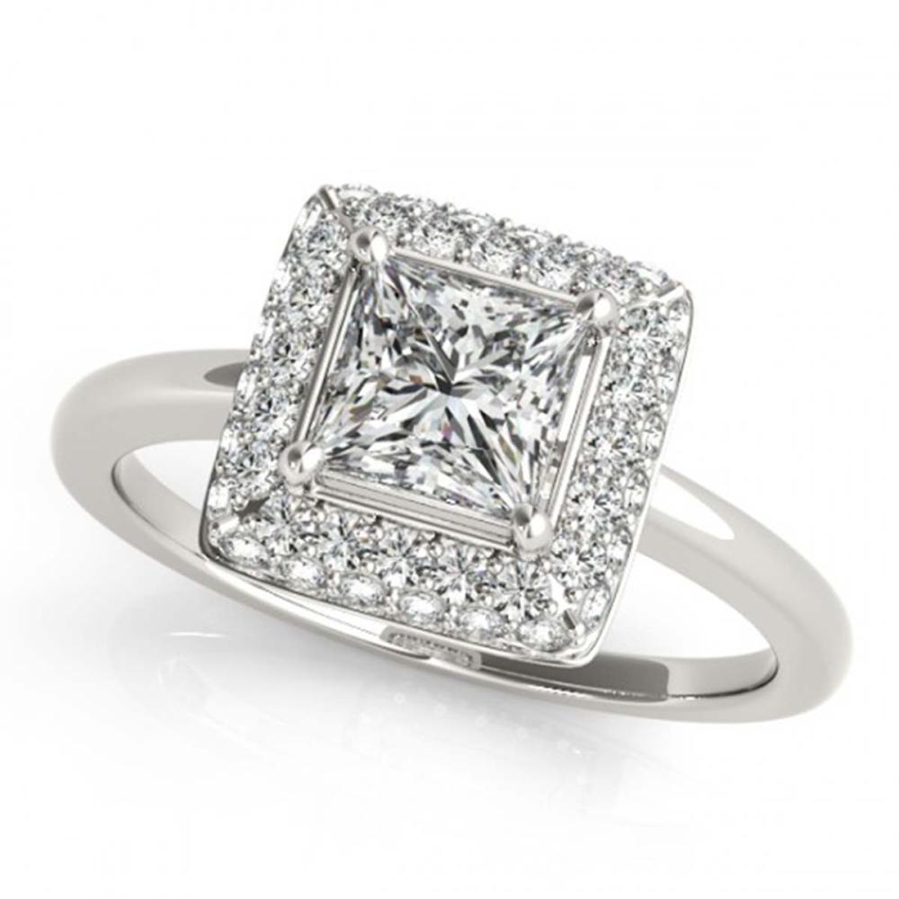 0.80 ctw VS/SI Princess Diamond Halo Ring 18K White Gold - REF-100K9W - SKU:27159