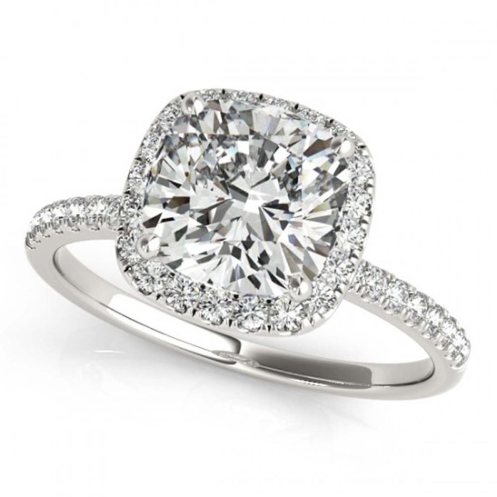 0.75 ctw VS/SI Cushion Diamond Halo Ring 18K White Gold - REF-102X3R - SKU:27204
