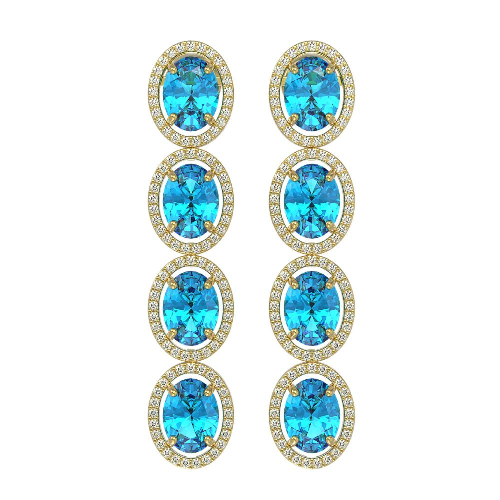 14.76 ctw Swiss Topaz & Diamond Halo Earrings 10K Yellow Gold - REF-141K3W - SKU:40780