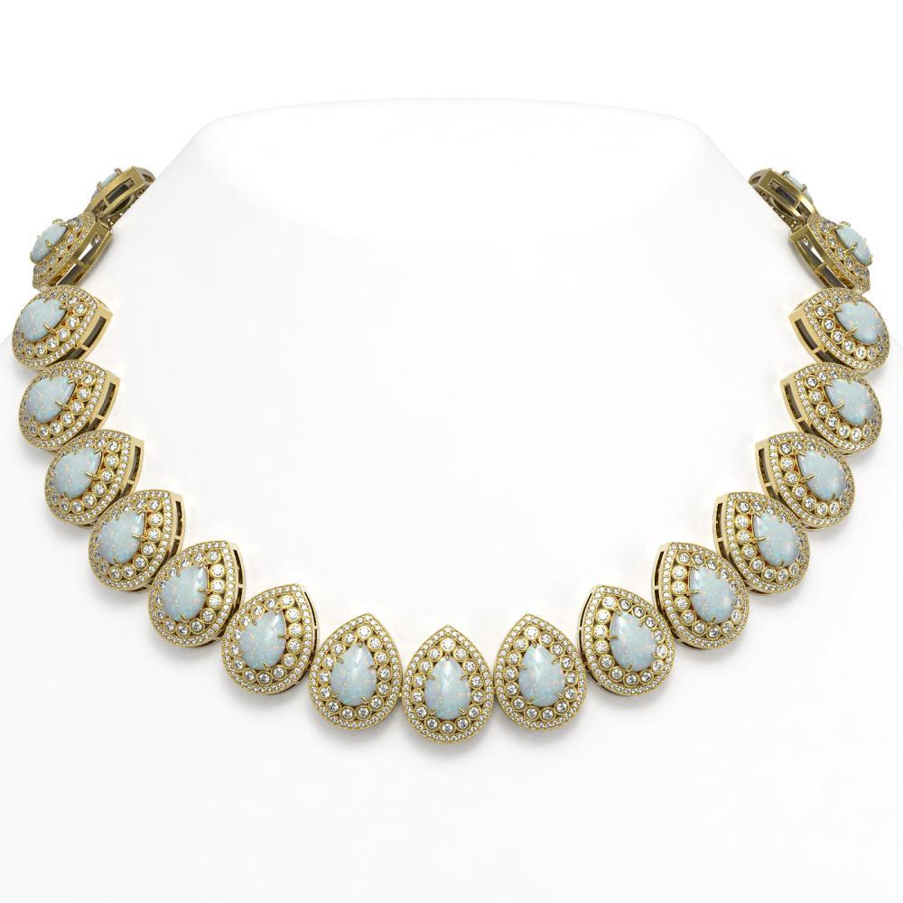 100.62 ctw Opal & Diamond Necklace 14K Yellow Gold - REF-3303W3H - SKU:43246