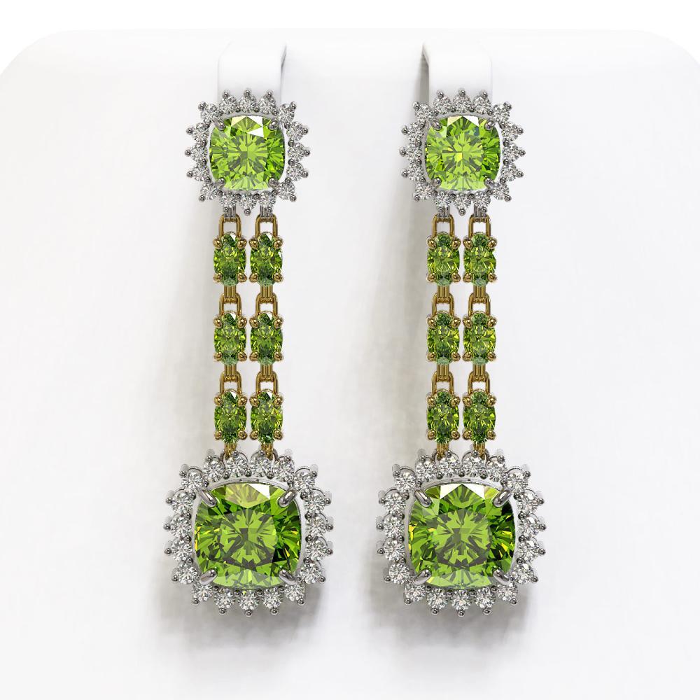 19.88 ctw Peridot & Diamond Earrings 14K Yellow Gold - REF-269R5K - SKU:44938