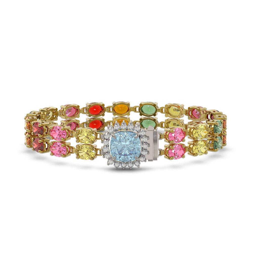 31.78 ctw Sapphire & Diamond Bracelet 14K Yellow Gold - REF-320R2K - SKU:45700