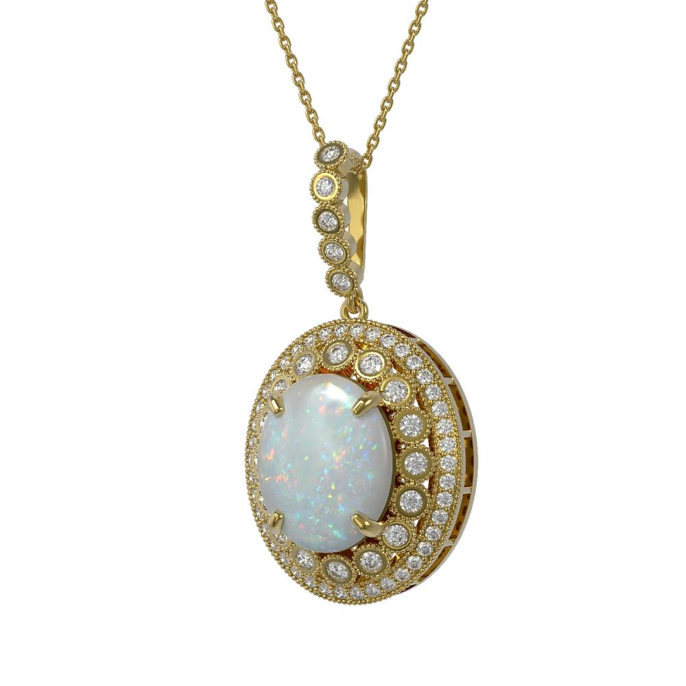 9.38 ctw Opal & Diamond Necklace 14K Yellow Gold - REF-285W3H - SKU:43873