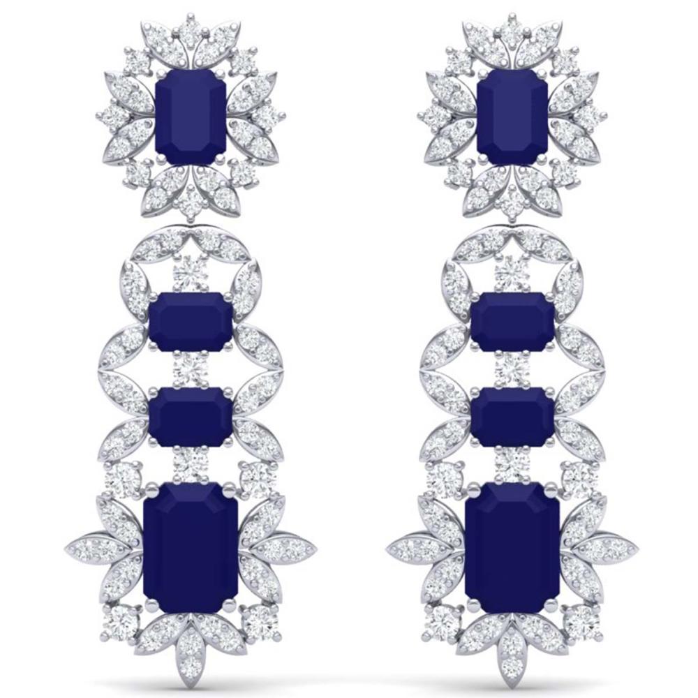 30.25 ctw Sapphire & VS Diamond Earrings 18K White Gold - REF-581A8V - SKU:39411