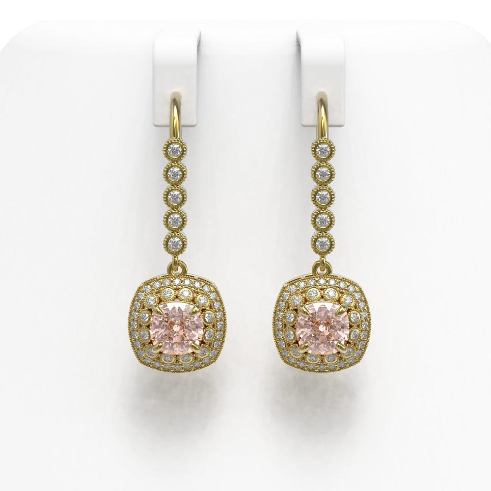 4.3 ctw Morganite & Diamond Earrings 14K Yellow Gold - REF-158V5Y - SKU:44071