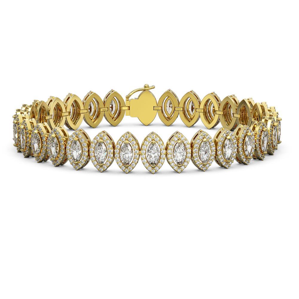 13.1 ctw Marquise Diamond Bracelet 18K Yellow Gold - REF-1100Y6X - SKU:43087