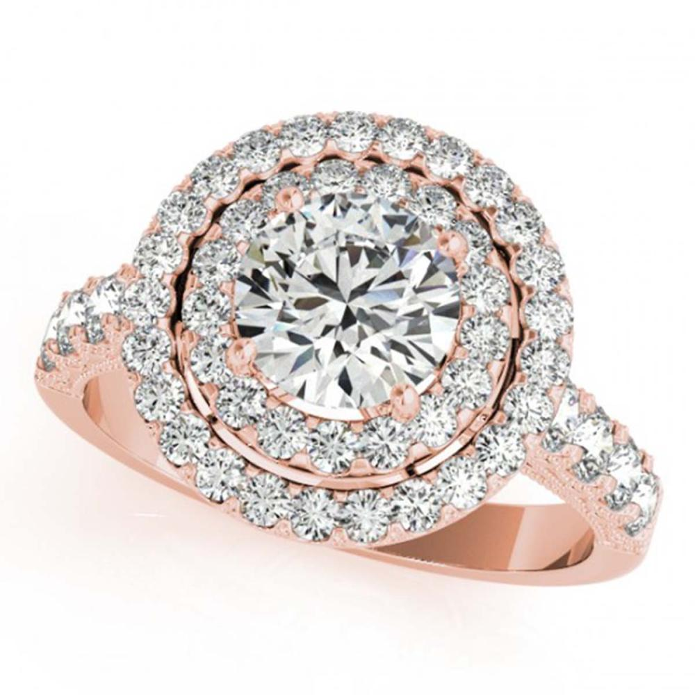 3 ctw VS/SI Diamond Halo Ring 18K Rose Gold - REF-597N3A - SKU:26887