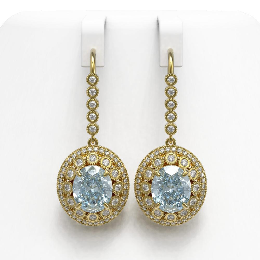 13.62 ctw Aquamarine & Diamond Earrings 14K Yellow Gold - REF-439R3K - SKU:43777