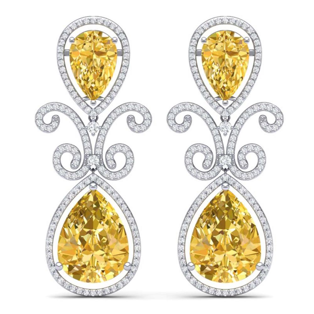 27.31 ctw Canary Citrine & VS Diamond Earrings 18K White Gold - REF-301K8W - SKU:39552