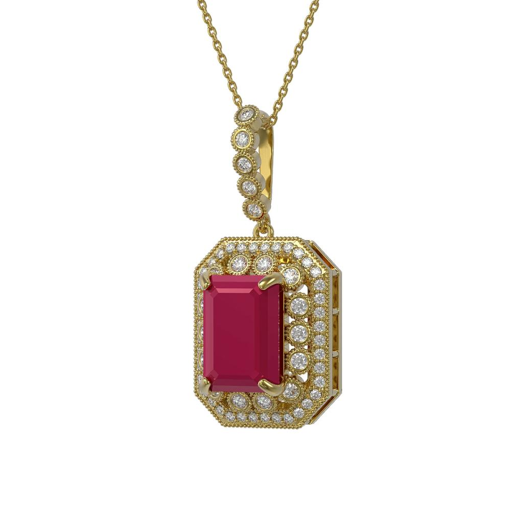 11.99 ctw Ruby & Diamond Necklace 14K Yellow Gold - REF-257H8M - SKU:43537