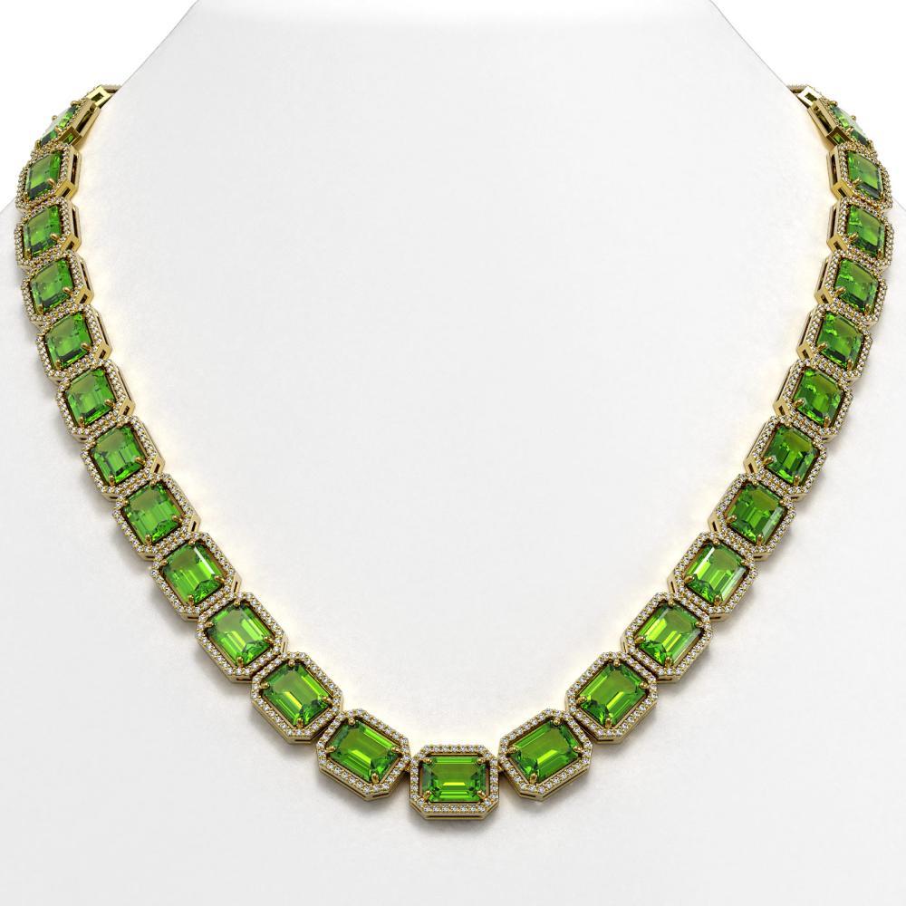 73.41 ctw Peridot & Diamond Halo Necklace 10K Yellow Gold - REF-888V2Y - SKU:41503