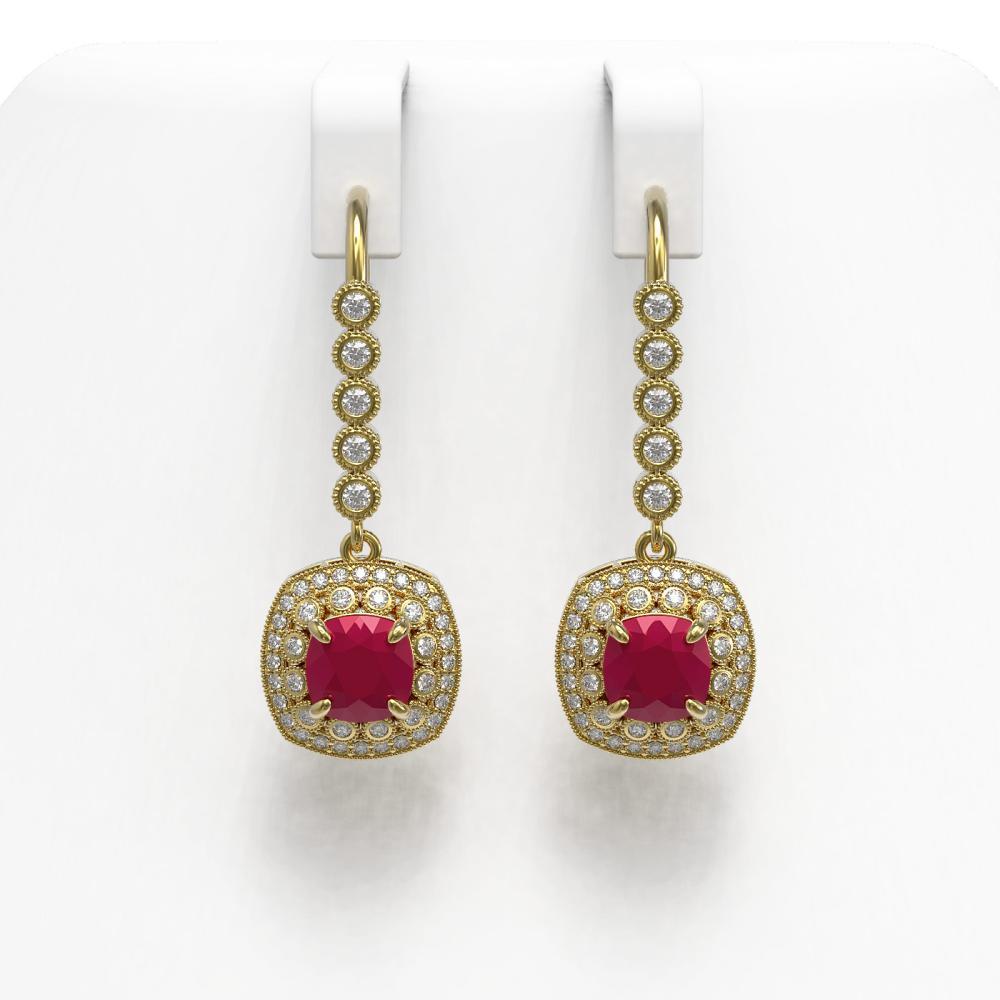 5.1 ctw Ruby & Diamond Earrings 14K Yellow Gold - REF-140H5M - SKU:44053