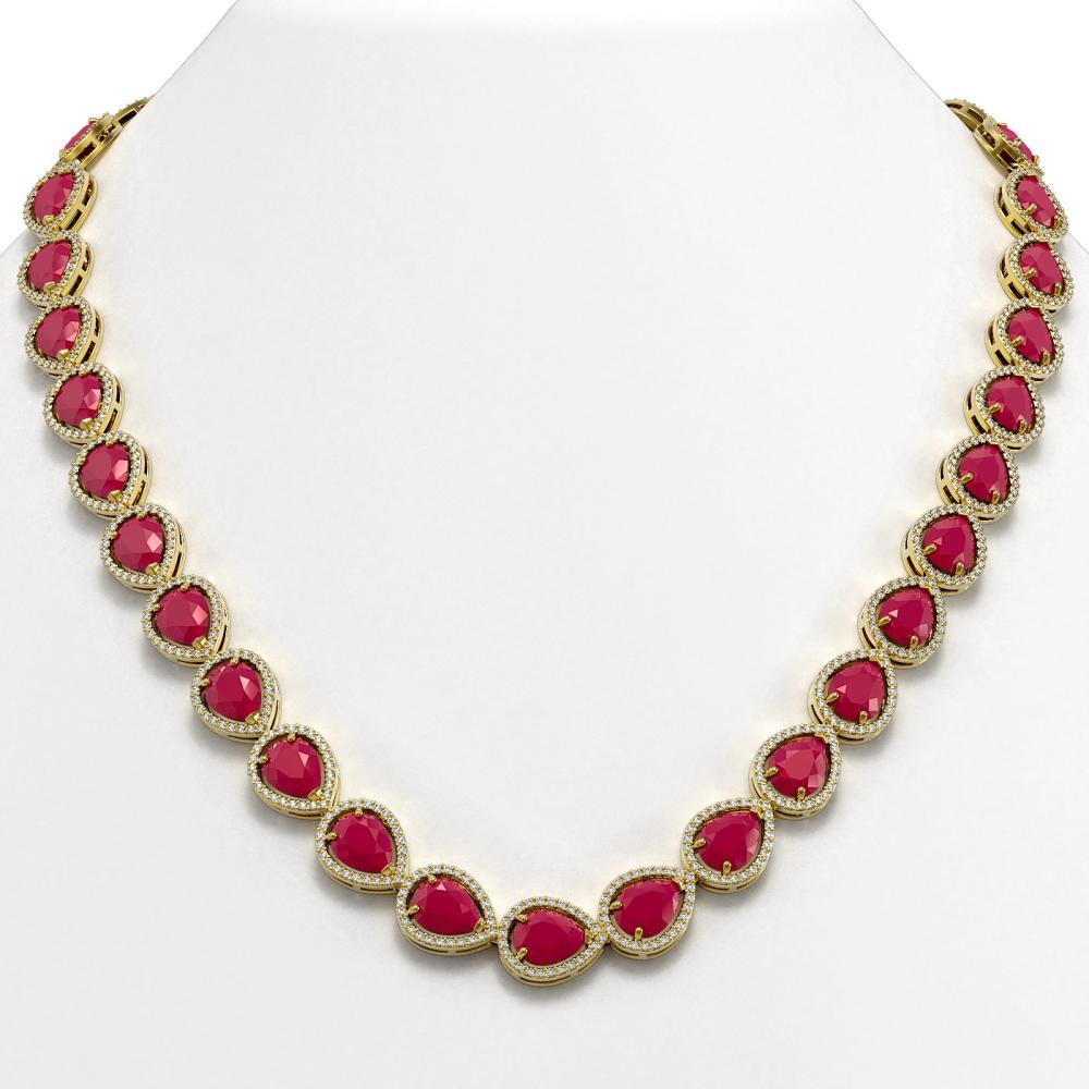 64.01 ctw Ruby & Diamond Halo Necklace 10K Yellow Gold - REF-854H5M - SKU:41191