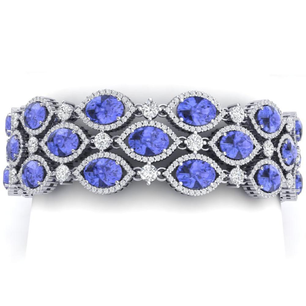 43.16 ctw Tanzanite & VS Diamond Bracelet 18K White Gold - REF-1236W4H - SKU:38895
