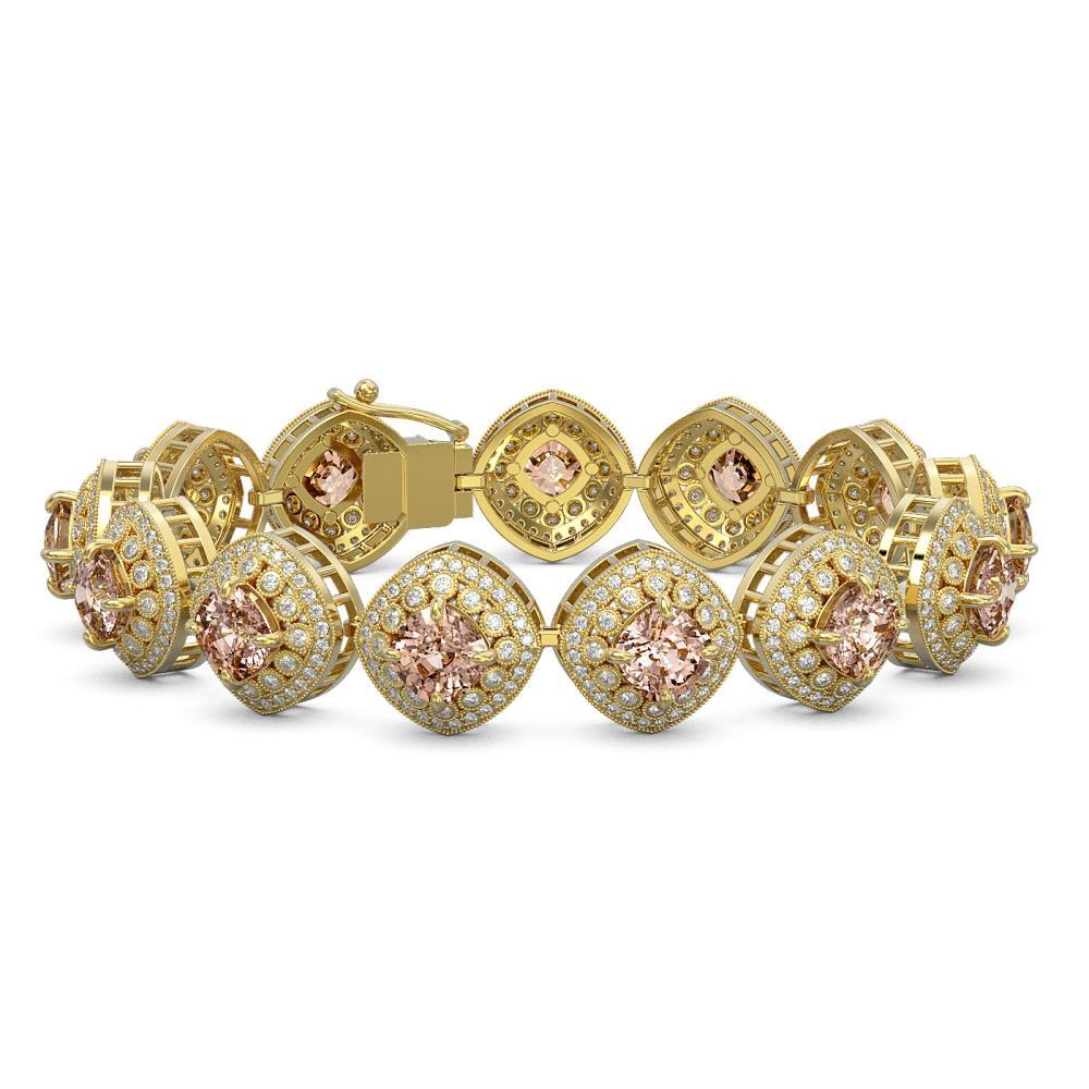 31.35 ctw Morganite & Diamond Bracelet 14K Yellow Gold - REF-1063Y3X - SKU:44167