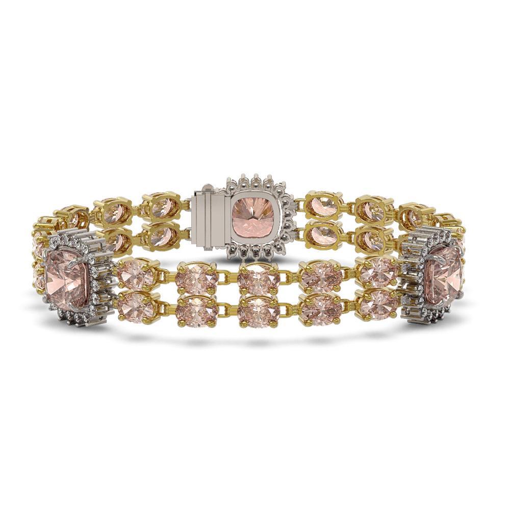 36.8 ctw Morganite & Diamond Bracelet 14K Yellow Gold - REF-641V8Y - SKU:44866