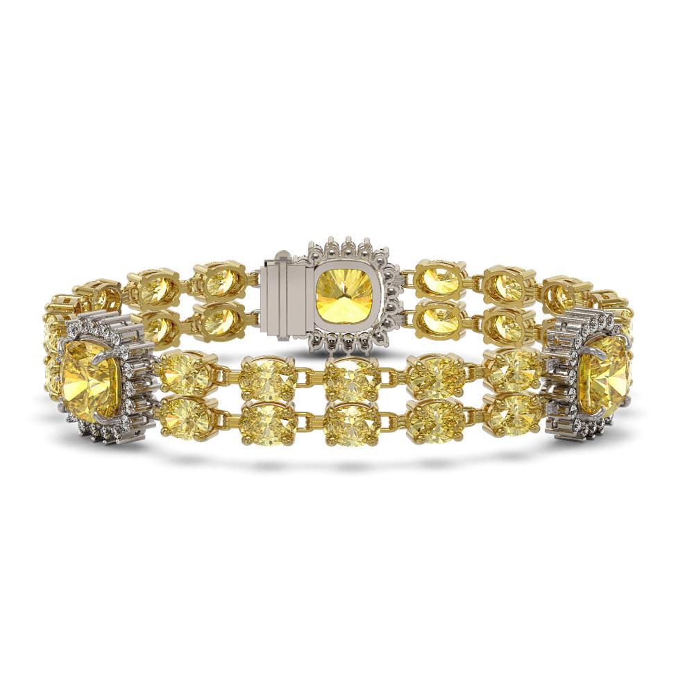 38.13 ctw Citrine & Diamond Bracelet 14K Yellow Gold - REF-290V4Y - SKU:44896