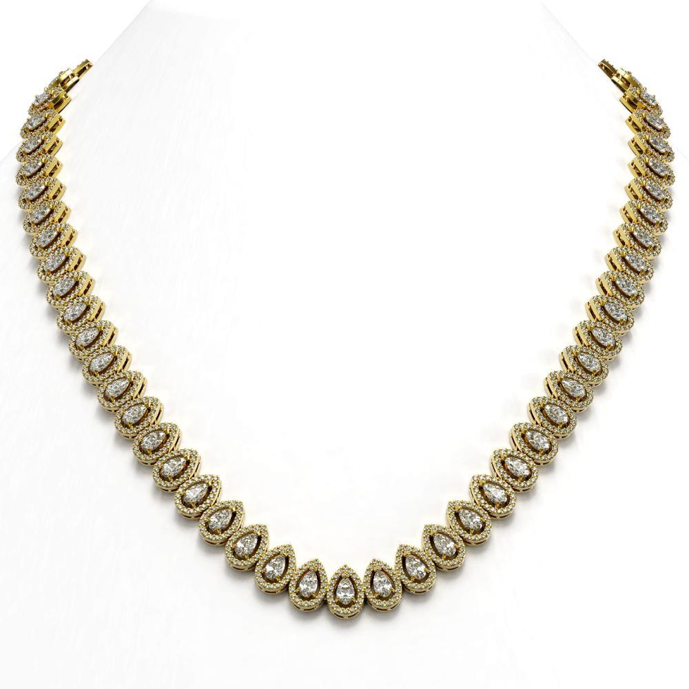 28.47 ctw Pear Diamond Necklace 18K Yellow Gold - REF-2389V2Y - SKU:43075