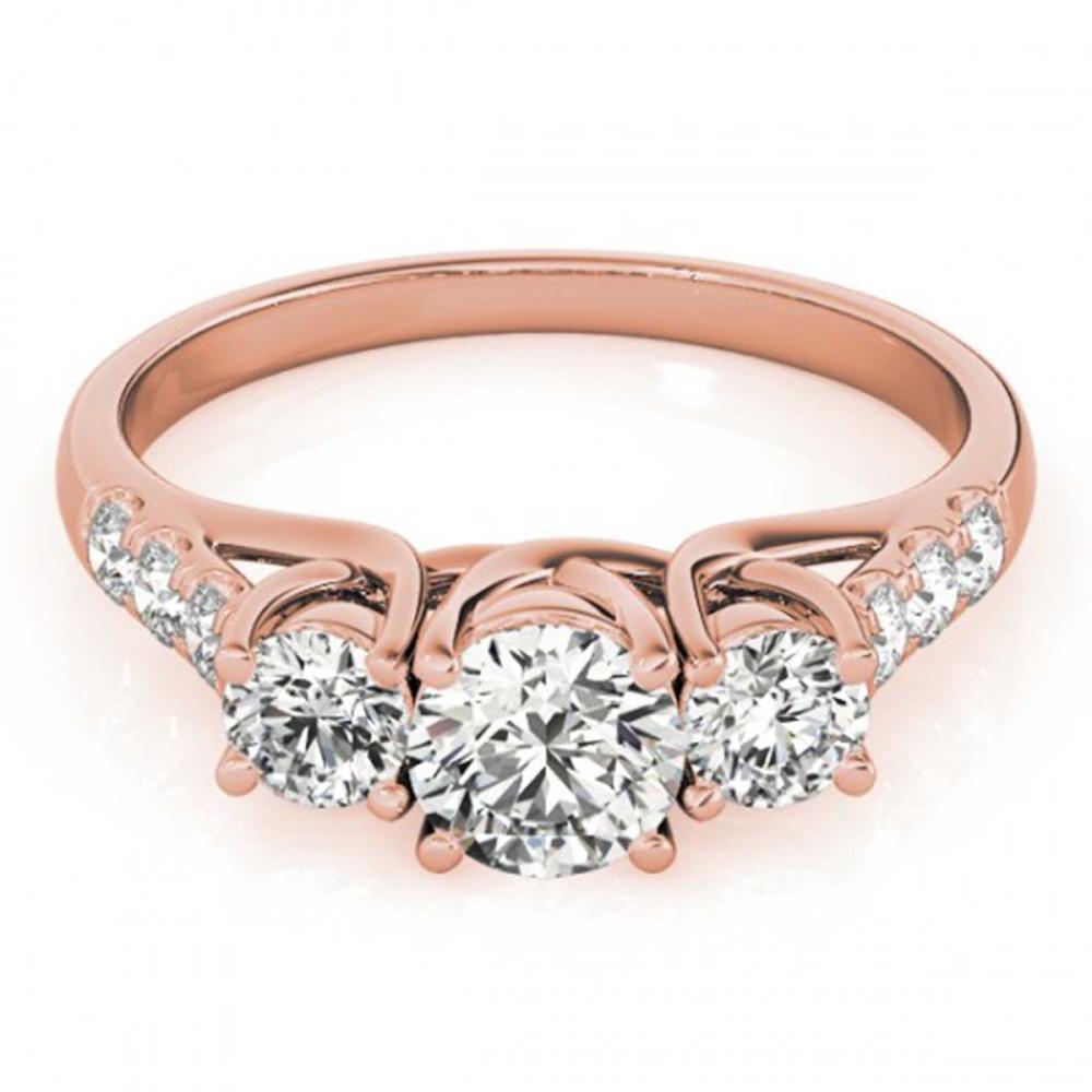 1.33 ctw VS/SI Diamond 3 Stone Ring 18K Rose Gold - REF-165H5M - SKU:28084