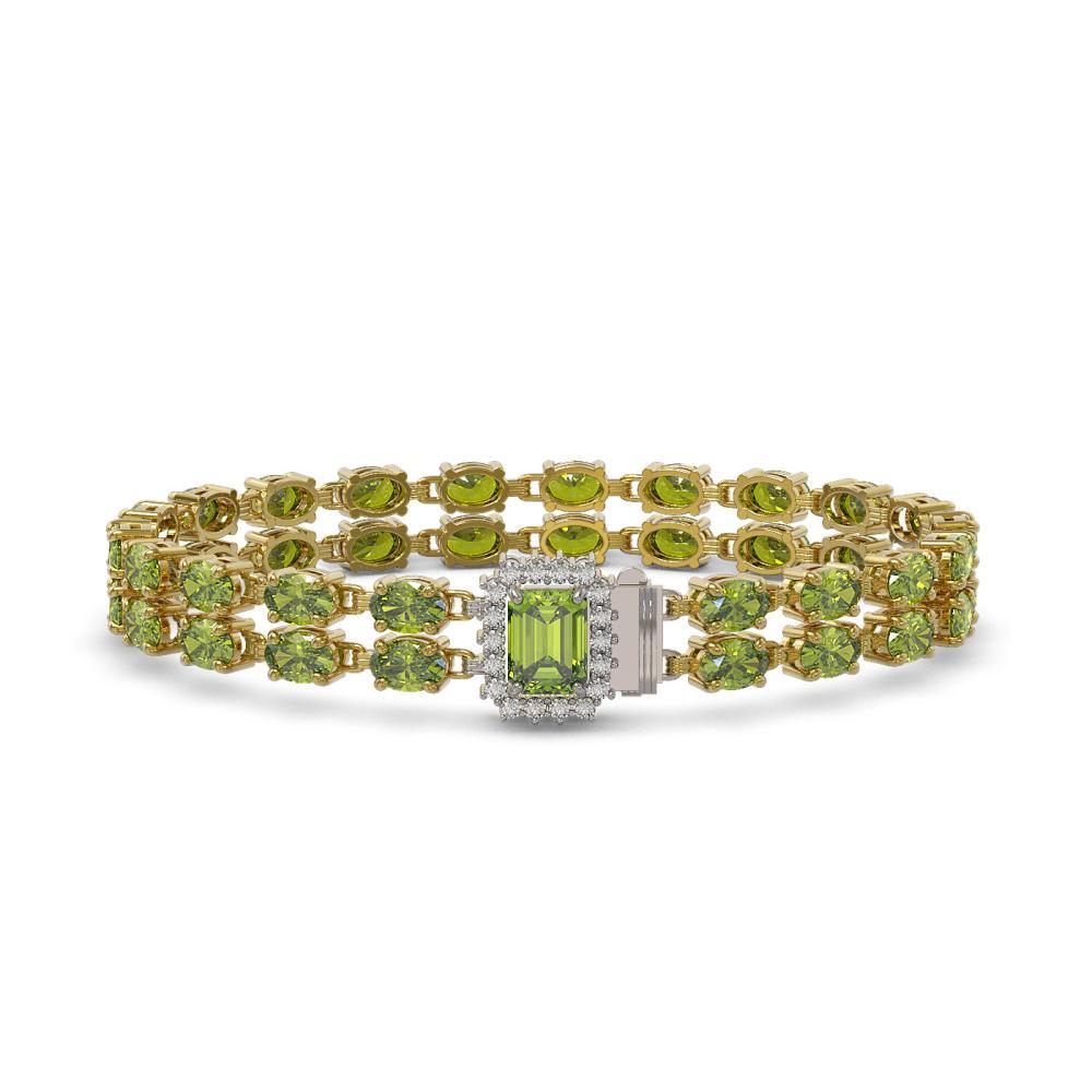 25.96 ctw Tourmaline & Diamond Bracelet 14K Yellow Gold - REF-288X2R - SKU:45787