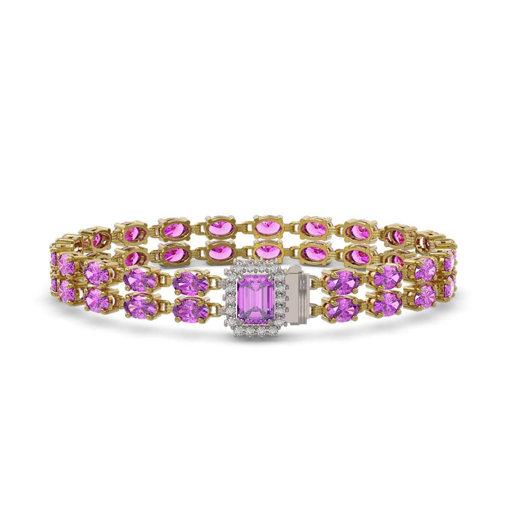 24.26 ctw Amethyst & Diamond Bracelet 14K Yellow Gold - REF-188H2M - SKU:45805