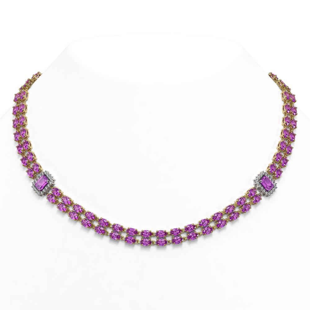 53.34 ctw Amethyst & Diamond Necklace 14K Yellow Gold - REF-442X2R - SKU:45121