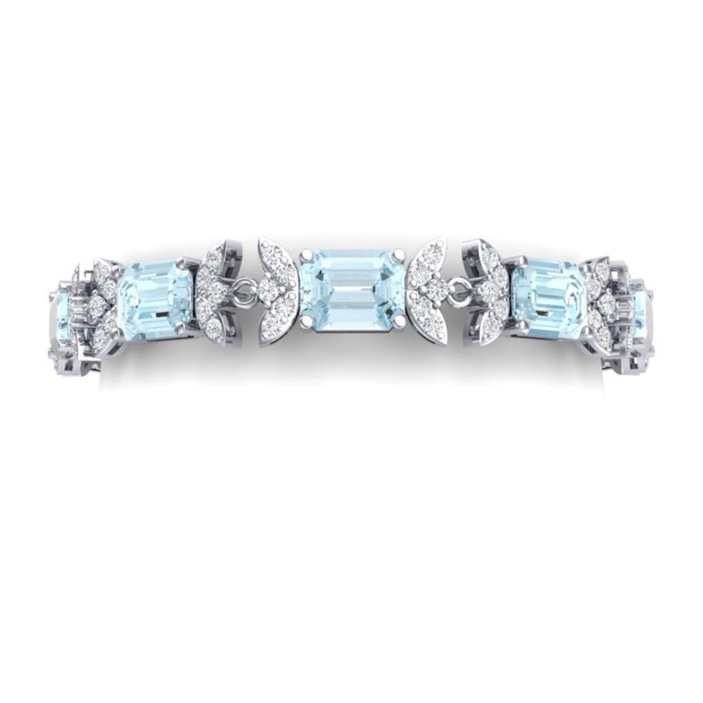 39.65 ctw Sky Topaz & VS Diamond Bracelet 18K White Gold - REF-400M2F - SKU:39399