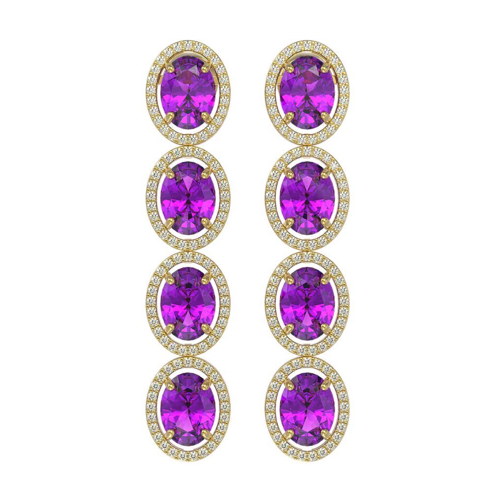 12.36 ctw Amethyst & Diamond Halo Earrings 10K Yellow Gold - REF-139K6W - SKU:40786