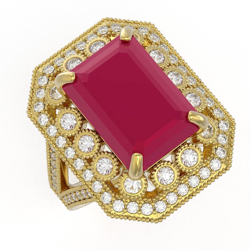 11.98 ctw Ruby & Diamond Ring 14K Yellow Gold - REF-258H7M - SKU:43513