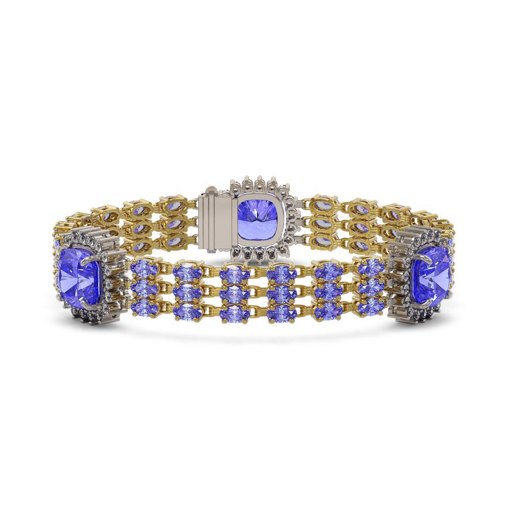 36.34 ctw Tanzanite & Diamond Bracelet 14K Yellow Gold - REF-672F7N - SKU:45319