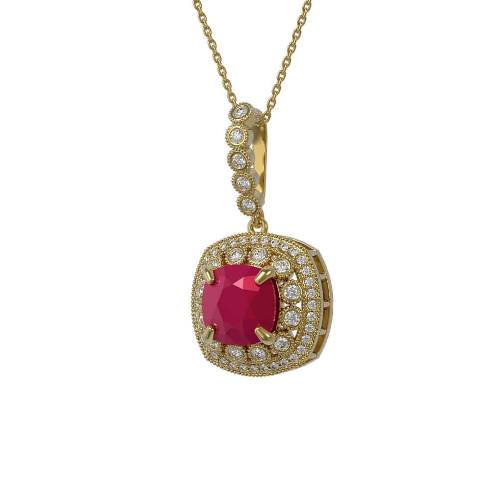 6.58 ctw Ruby & Diamond Necklace 14K Yellow Gold - REF-145R3K - SKU:44005