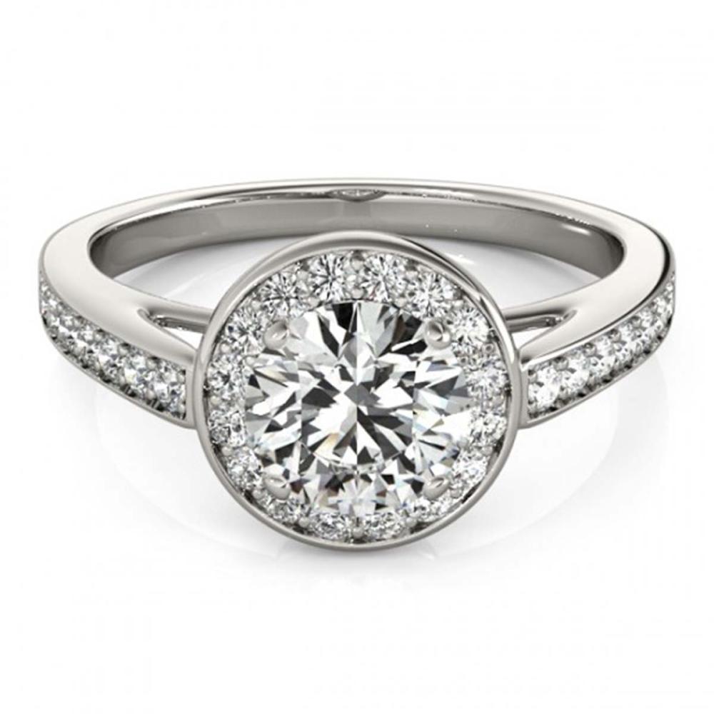 0.90 ctw VS/SI Diamond Halo Ring 18K White Gold - REF-91A5V - SKU:26560
