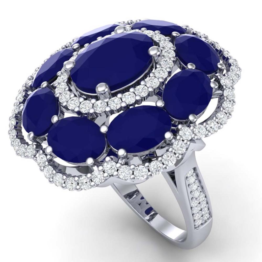 14.4 ctw Sapphire & VS Diamond Ring 18K White Gold - REF-250W9H - SKU:39189