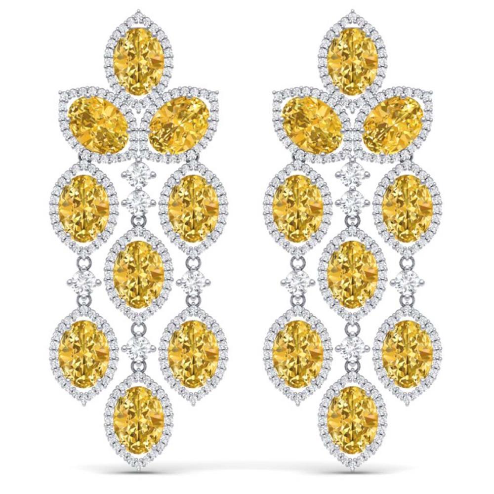 24.54 ctw Canary Citrine & VS Diamond Earrings 18K White Gold - REF-427R3K - SKU:38937