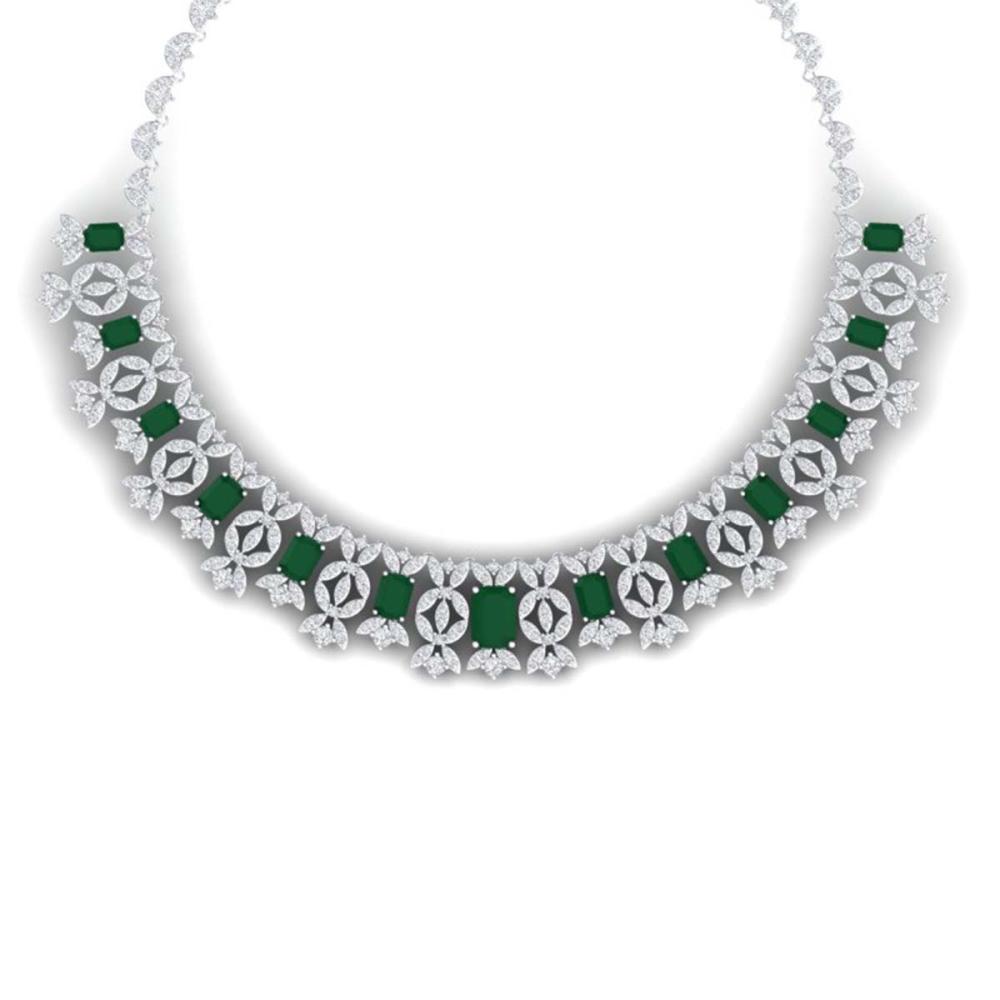 50.44 ctw Emerald & VS Diamond Necklace 18K White Gold - REF-1709A3V - SKU:39375