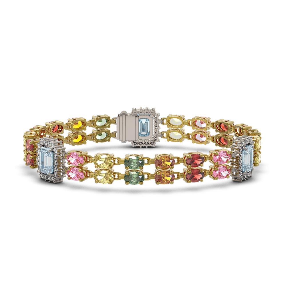 29.55 ctw Sapphire & Diamond Bracelet 14K Yellow Gold - REF-332W5H - SKU:45187